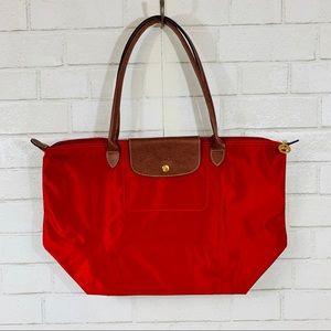 Longchamp Le Pliage Shopper Tote Red/Brown